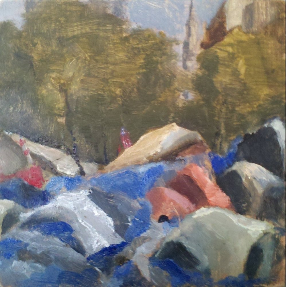 """""""Occupy Wall Street #5,"""" 2011, oil on prepared panel, 6 x 6 inches"""