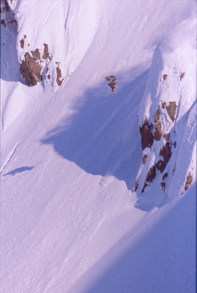 Professional freeskier Mark Abma gets some major air in the mountains surrounding Seward.