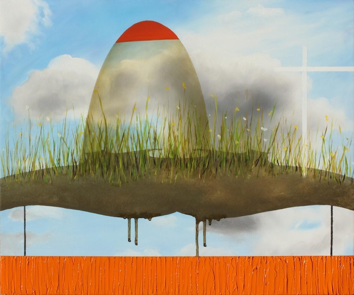 "Lisa Adams The Bellwether Exchange, 2011 Oil on panel 15"" x 18"