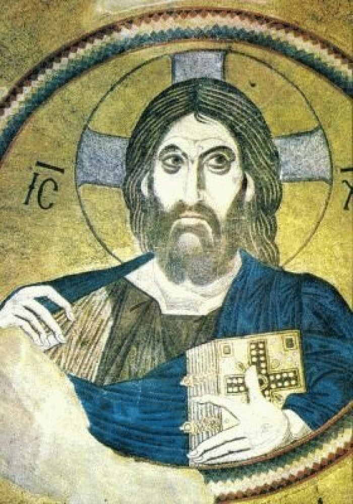 'Christ Pantocrator' was made in the Byzantine era, sometime between 1090 and 1100. This Jesus is very serious and very flat.