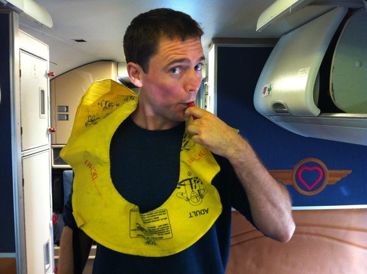 Owen Benjamin demonstrates safety equipment.  <em>Photo: Lenovo</em>