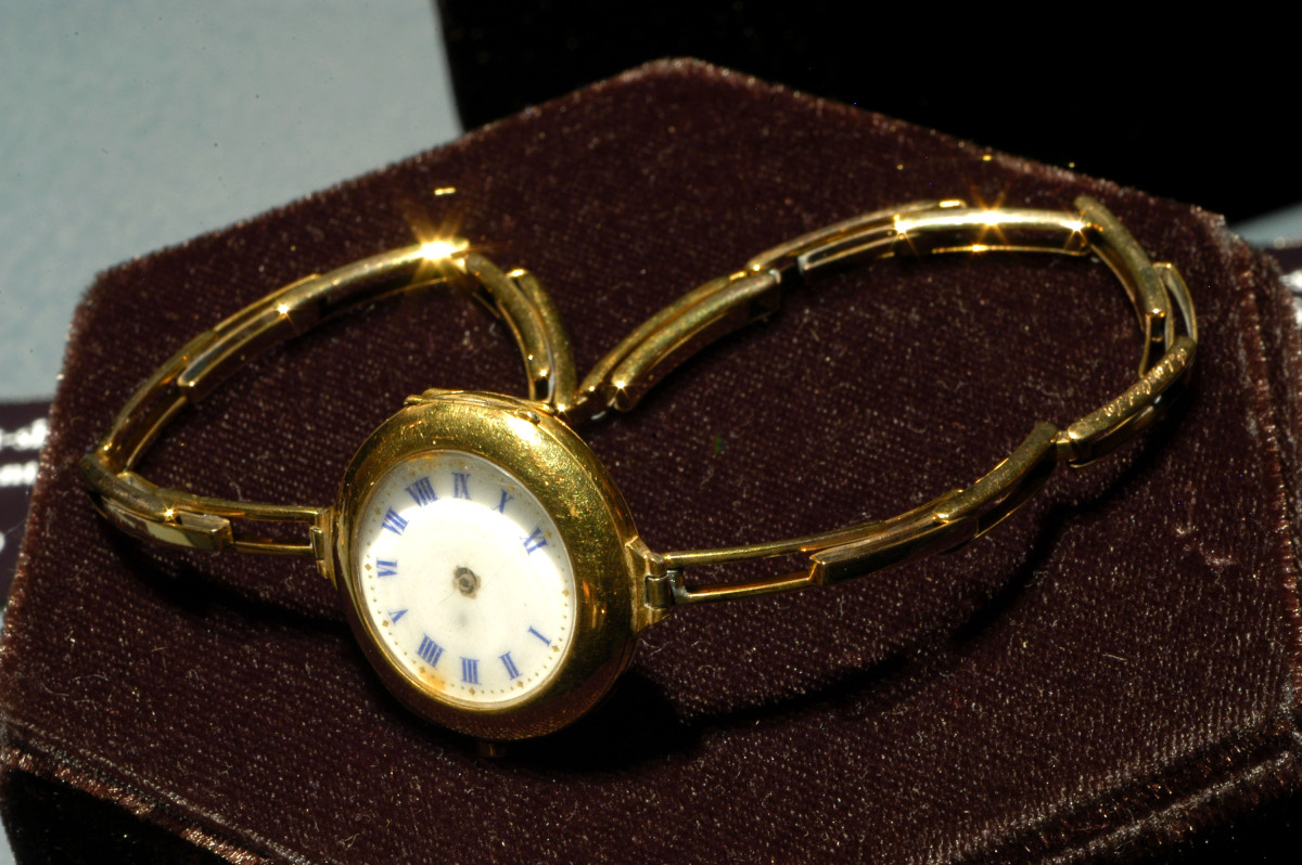"A gold wristwatch from the Titanic is on display at ""TITANIC The Artifact Exhibit"" at the California Science Center on Feb. 6"