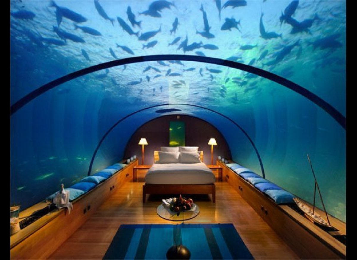 For the many who find aquariums soothing, the underwater suite at Conrad Maldives Rangali Island allows you to experience it