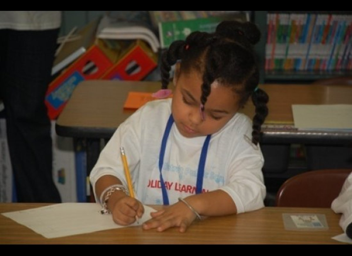 A student at Beard Elementary works during the DPS Holiday Learning Fest, where 18 schools were open over the break.