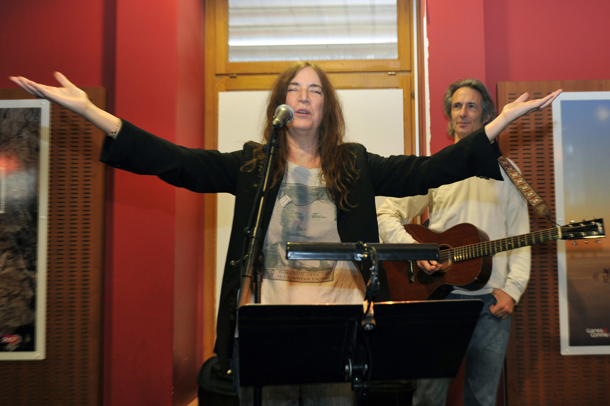 US rock singer and poet Patti Smith performs at Saint-Charles railway station in Marseille, southeastern France, on November