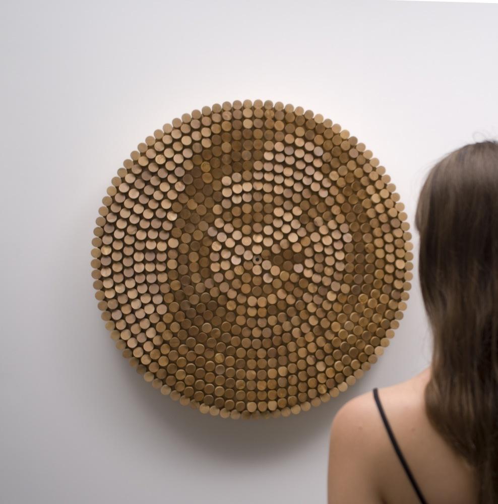 "Daniel Rozin, ""Peg Mirror"", Diameter 41.75""/106cm, depth 8""/20cm, 2007, Image courtesy Bitform Gallery NYC.    This piece"