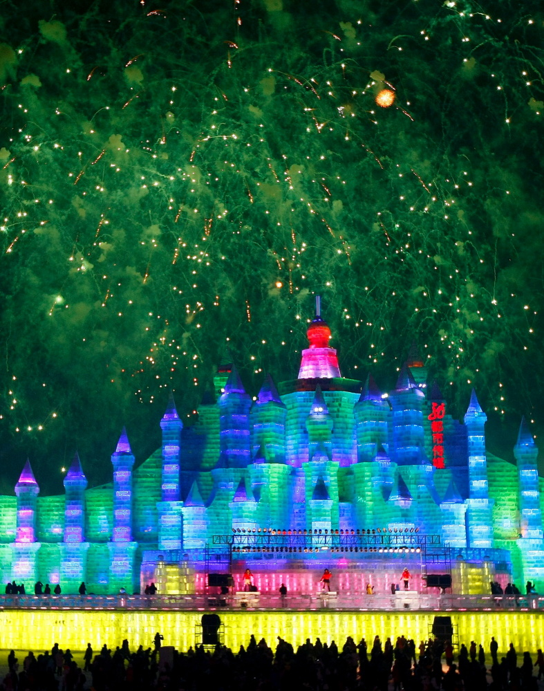 Ice scupltures are displayed at the annual Ice and Snow festival in Harbin, northeast China's Heilongjiang province on Januar