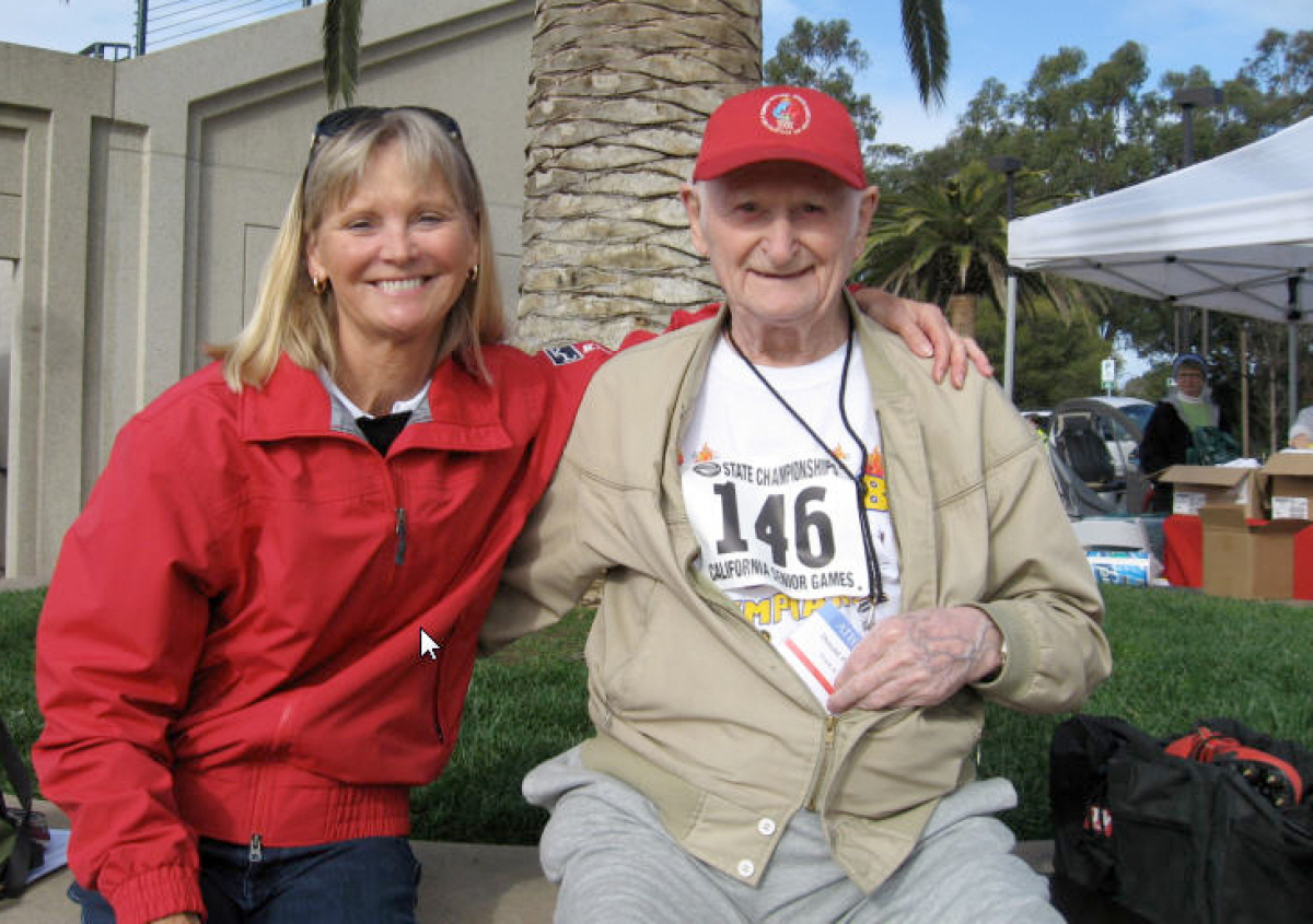 "<a href=""http://en.wikipedia.org/wiki/Donald_Pellmann"">Don Pellman</a>, age 96, holds four U.S. track records in his age grou"