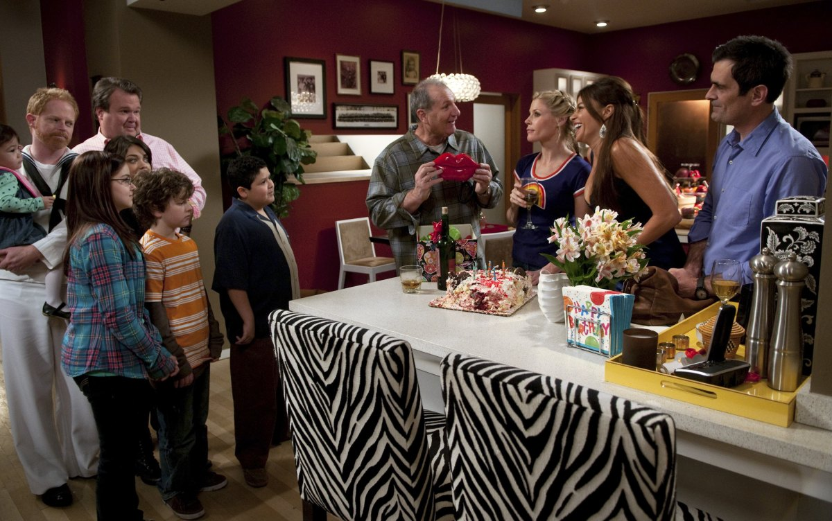 The cast of <em>Modern Family</em> (starting from the left): Jesse Tyler Ferguson, Eric Stonestreet, Ariel Winter, Sarah Hyla
