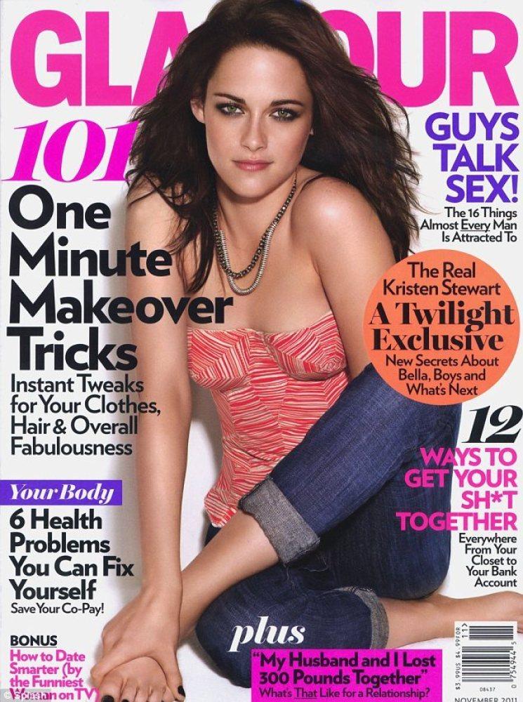 """Kristen Stewart auf dem Cover von """"Glamour"""": Bemerken Sie, was hier falsch ist? Richtig, Stewarts Arm verschwindet in ihrem B"""