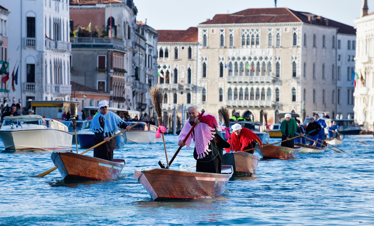 Participants row on the Grand Canal during the 34th Befana Regatta on Jan. 6, 2012 in Venice, Italy.  In Italian folklore, Be