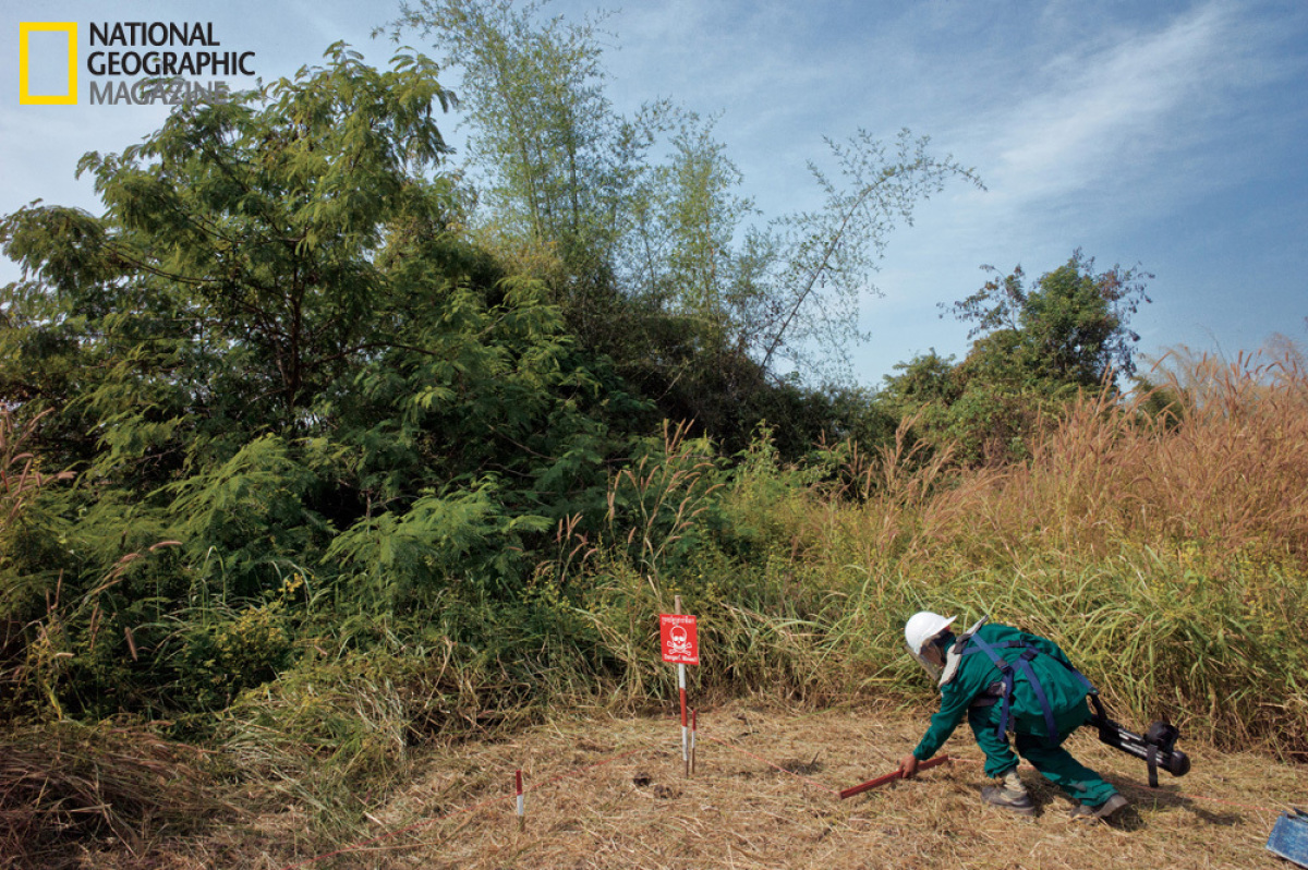 More than 1,600 mines have been removed from this area in Bour, a village in Cambodia's Battambang Province, where Hun Krat s