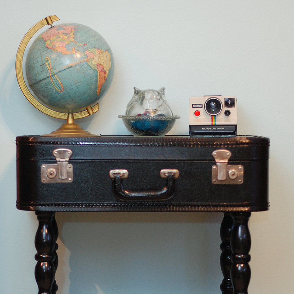 """An old suitcase can make a quirky end table with a little DIY know-how. For the tutorial, visit <a href=""""http://www.starsfors"""