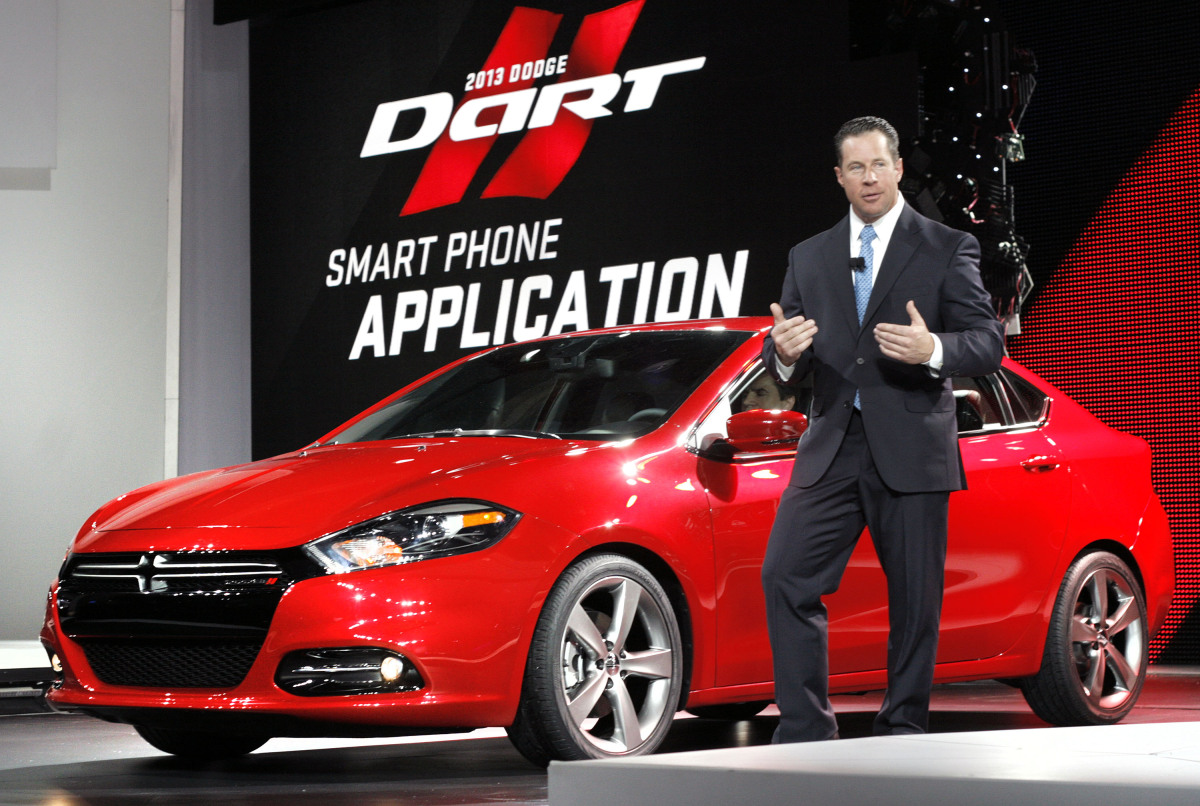 Reid Bigland, Dodge brand President and CEO, introduces the new 2013 Dodge Dart during a press preview at the North American