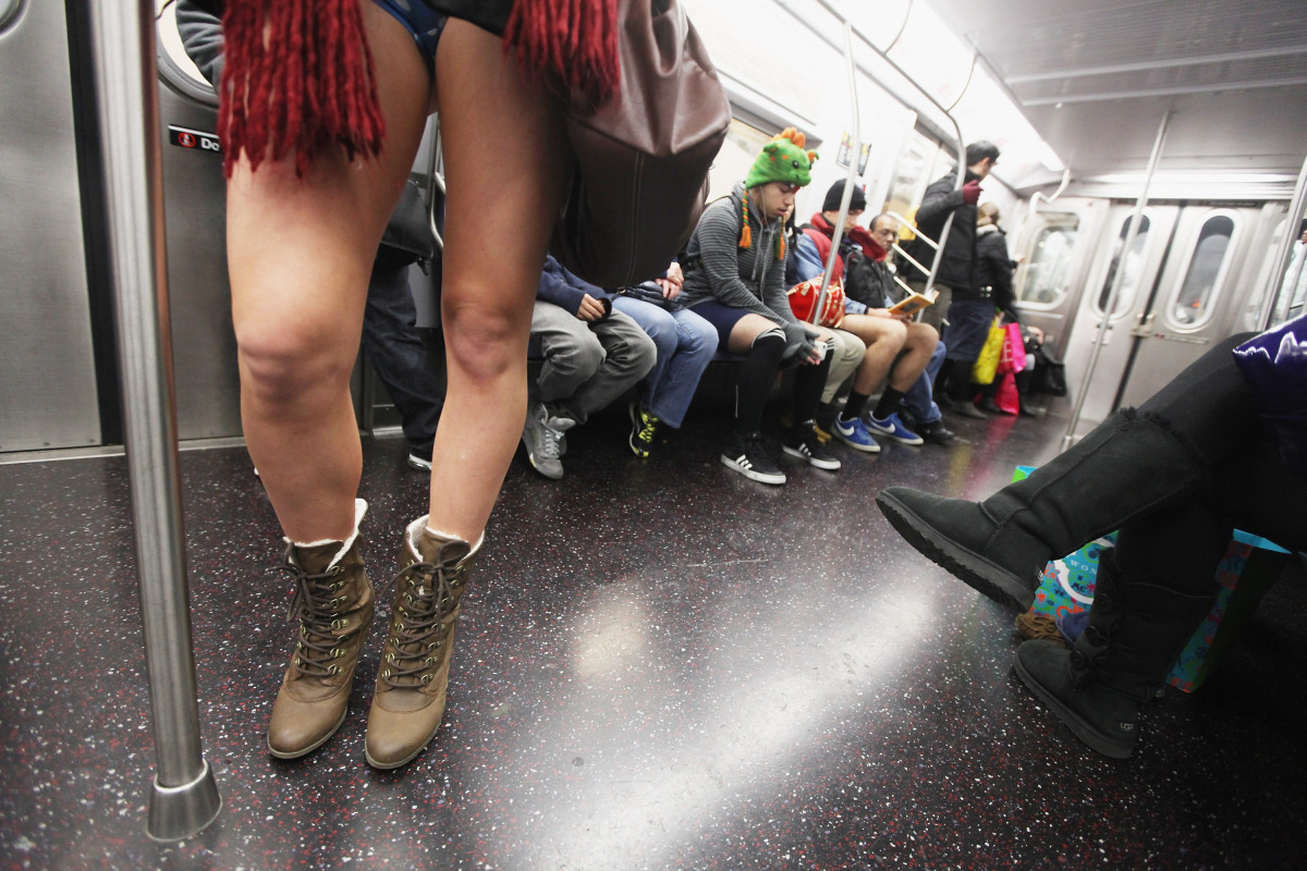 A participant rides the subway during the annual No Pants Subway Ride on Jan. 8, 2012 in New York City. The annual event is s