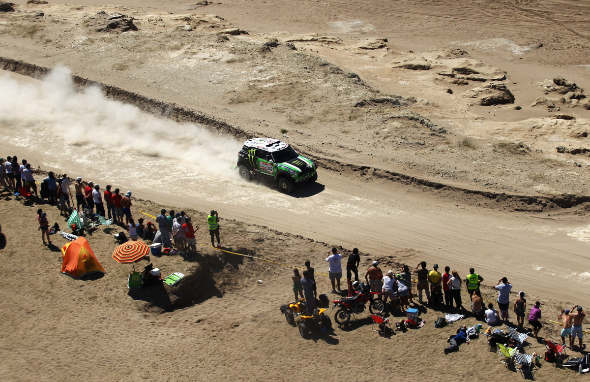 Stephane Peterhansel of France drives his  Mini along the coast during stage one of the 2012 Dakar Rally from Mar Del Plata t