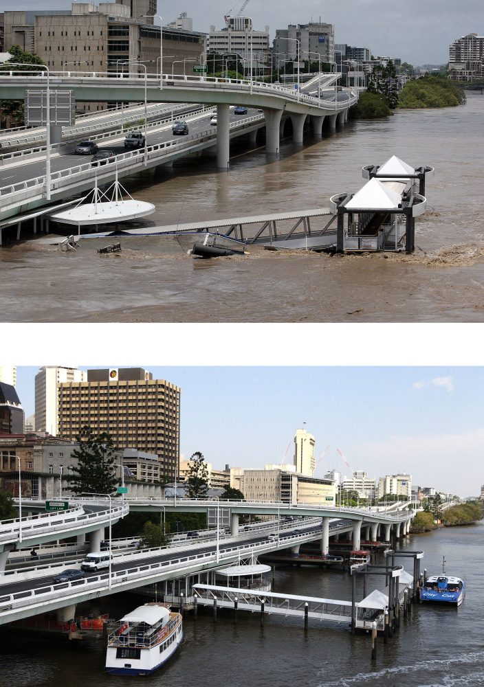 In this composite image (Bottom) a view of the the Brisbane city and the Brisbane river on January 9, 2012 compared to (Top)