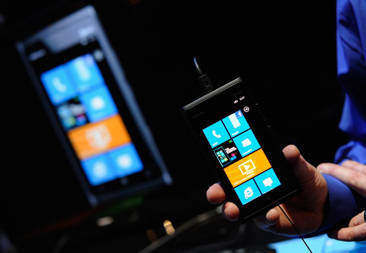 LAS VEGAS, NV - JANUARY 10:  The Nokia Lumia 900 Windows Phone is displayed at the 2012 International Consumer Electronics Sh