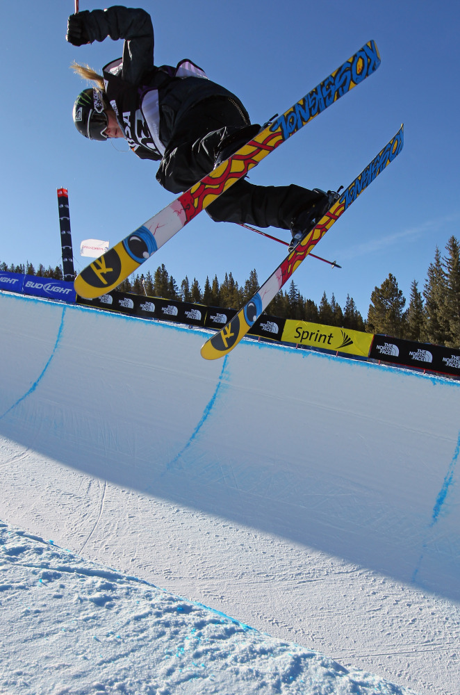 Sarah Burke of Canada skis to seventh place in the halfpipe finals of the FIS Freestyle World Cup at the VISA US Freeskiing G
