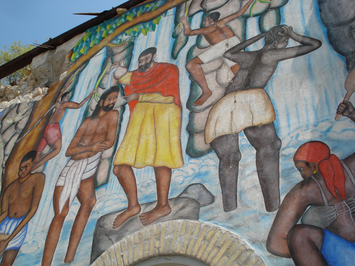The mural Baptism, painted by Castera Bazile in 1951, prior to its removal for restoration.