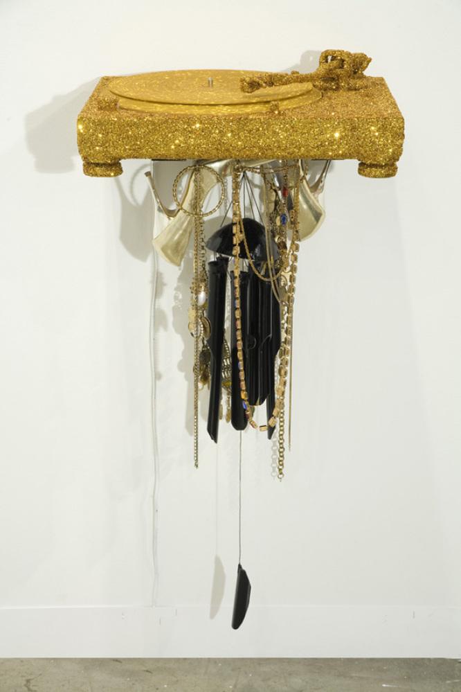 Jim Lambie Bhangra Remix 2010 Glitter, record deck, wind chime, women's shoes, women's jewelry 39 x 18 x 14 1/2 inches