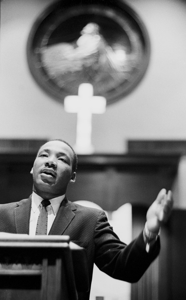 Dr. Martin Luther King Jr. preaching from his pulpit circa 1960 at the Ebenezer Baptist Church in Atlanta, Georgia. (Dozier M
