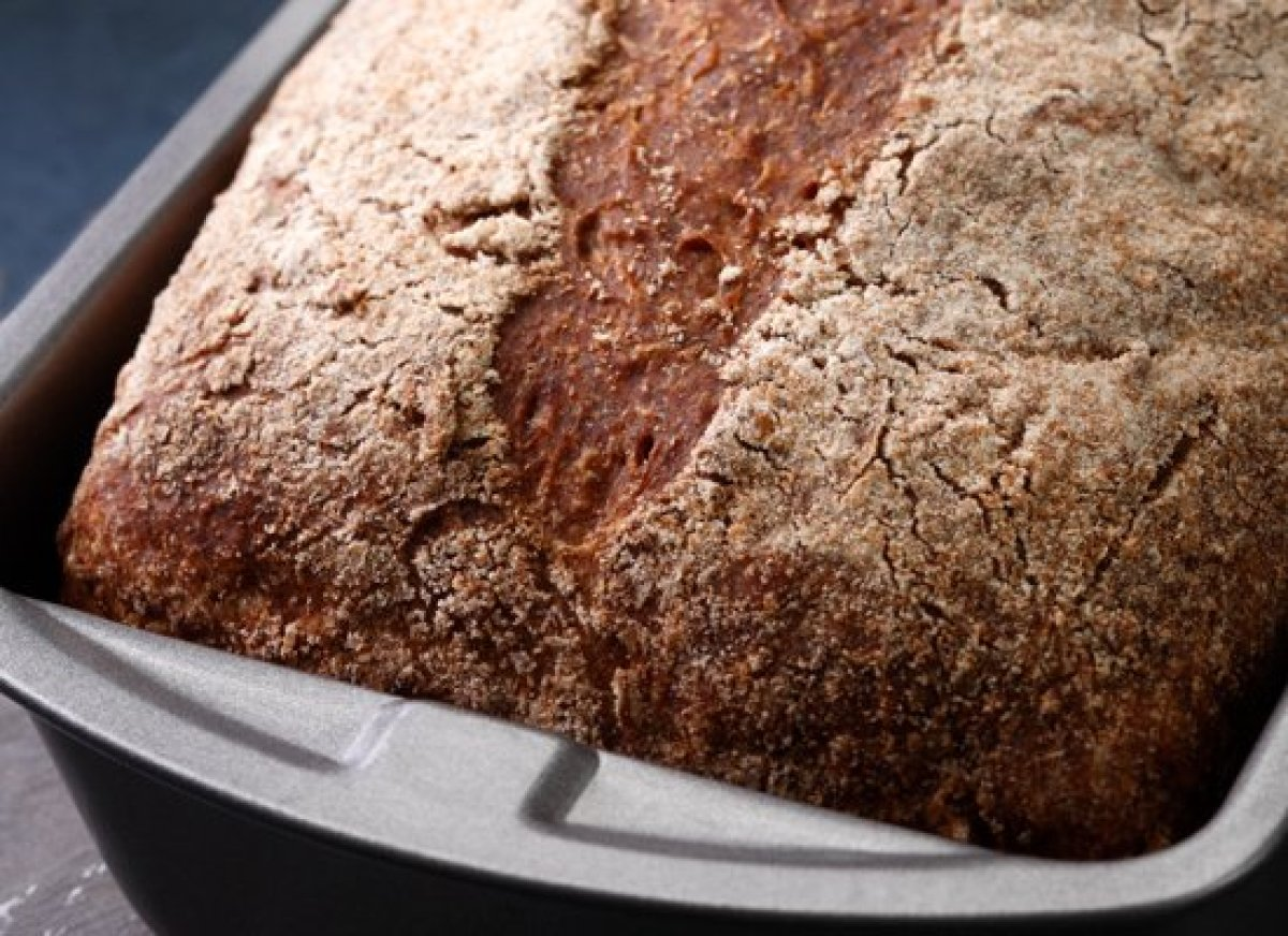 Baking your bread in a loaf pan gives it an even rectangular shape that's perfect for slicing for everyday use. This bread re