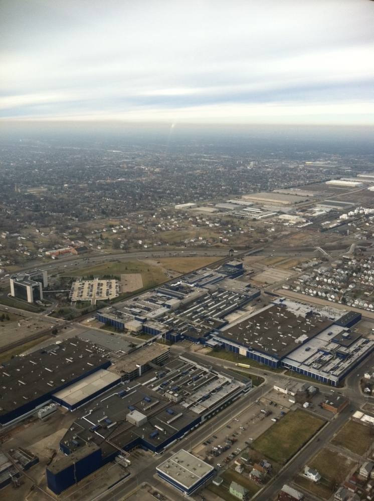 Flying above the Motor City with Student Pilot Taylor Grant, a 17-year-old senior at Davis Aerospace Technical High School.