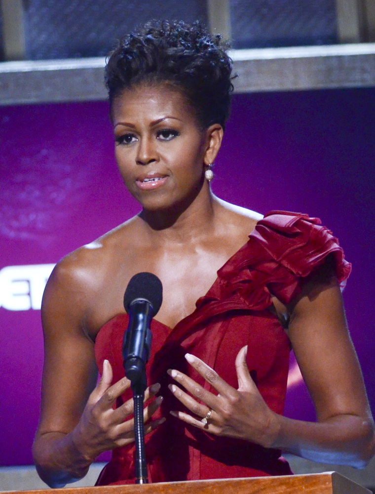 WASHINGTON, DC - JANUARY 14: Michelle Obama speaks during the BET Honors 2012 at the Warner Theatre on January 14, 2012 in Wa