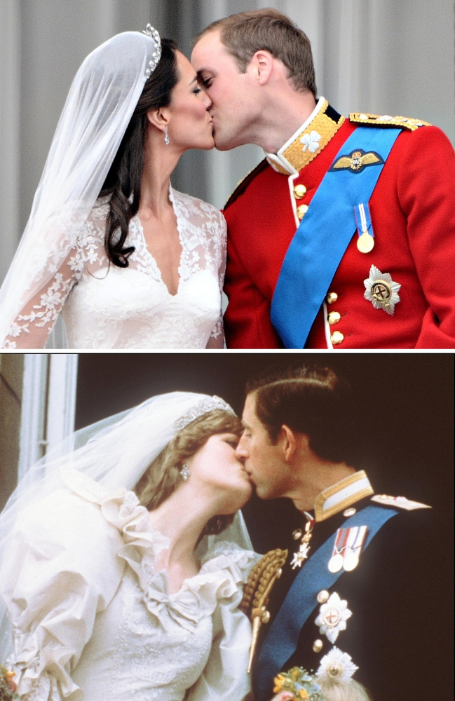 Prince Charles kisses Diana, Princess of Wales during their wedding in London on July 29, 1981 and (up) Prince William kisses