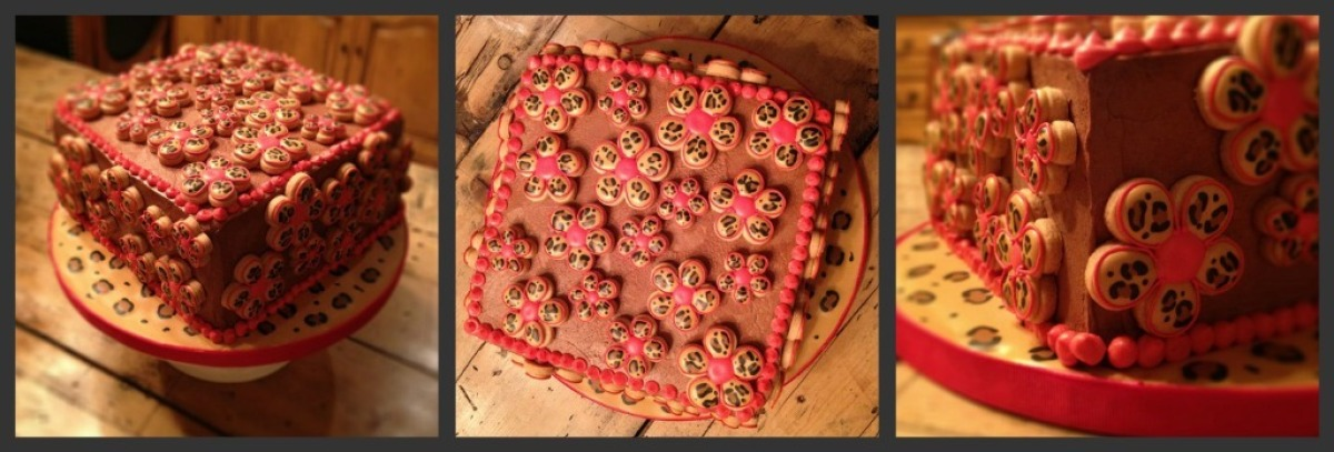 A cake Gail made for her partner Jackie's birthday, who always insists that leopard goes with everything!