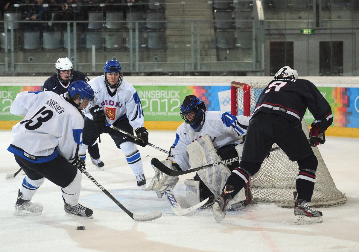 Juuso Kannel of Finland defends his goal during the Ice Hockey match between USA and Finland.