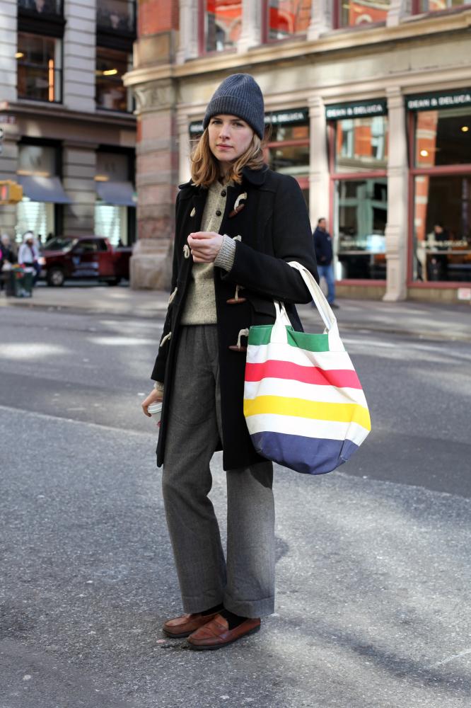 Wearing: J.Crew coat, vintage sweater, Eunice pants, vintage shoes, Marc Jacobs hat, Hudson Bay bag  Favorite Neighborhood