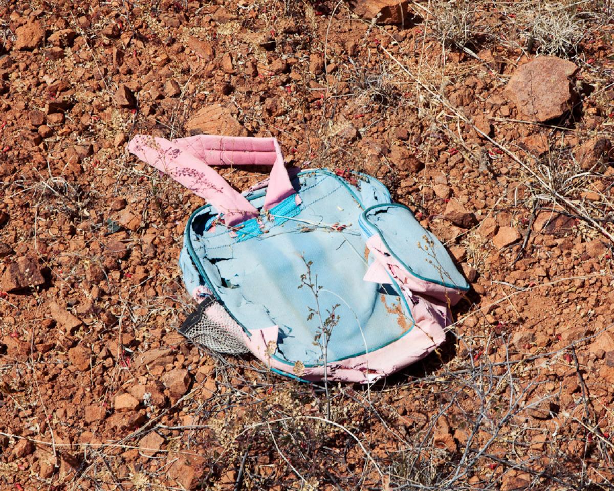 A child's backpack recovered in the Sonoran Desert of Arizona. Photo taken near Arivaca road, AZ. Credit: Michael Wells, mwel