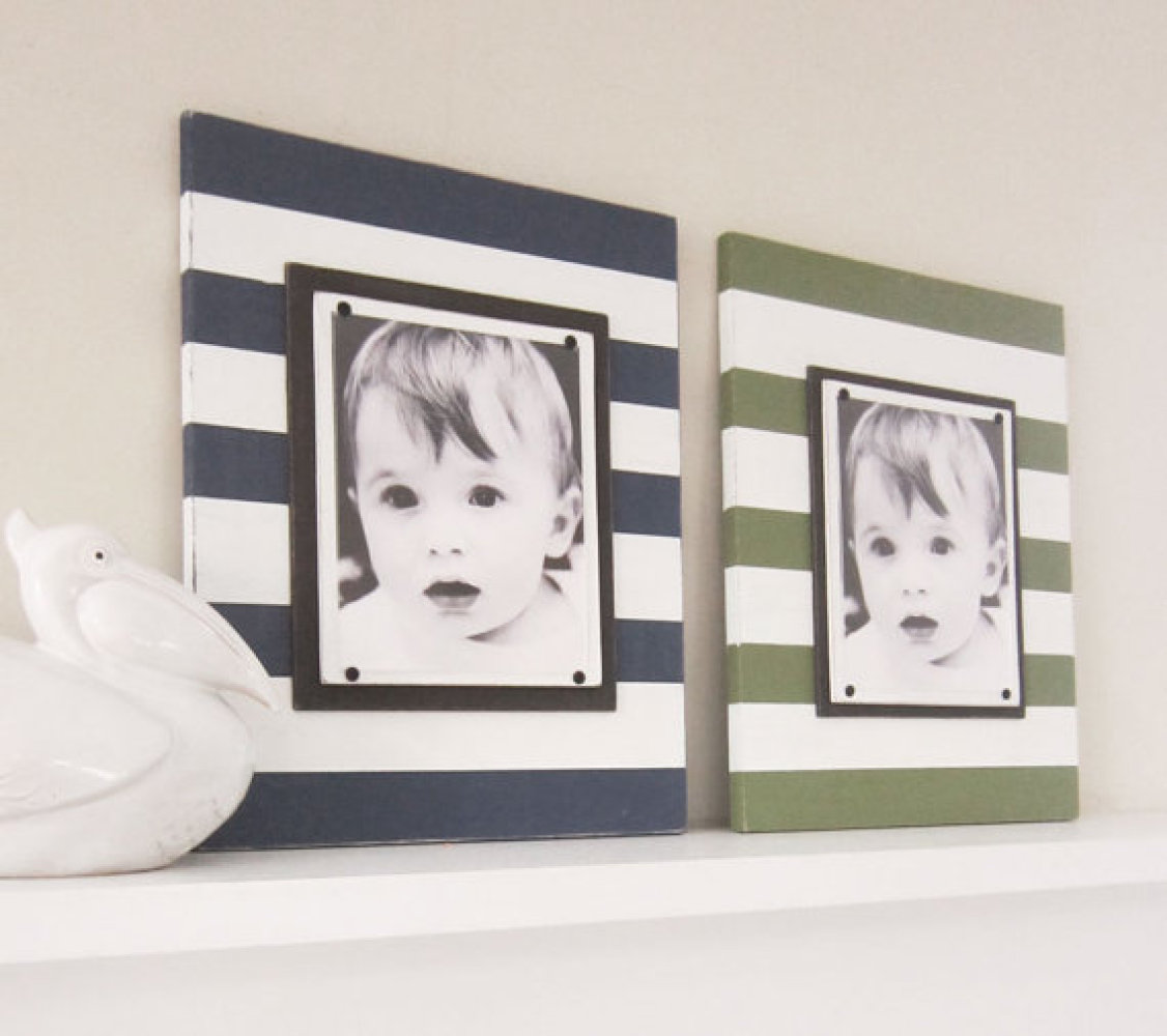 Decorate the mantel or a shelf with striped frames. The pattern will captivate and draw focus to the photos, but then the hor