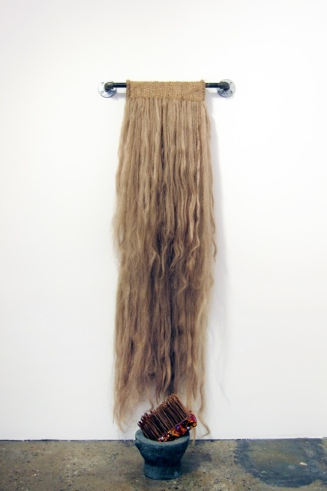 Ron Athey Foot Washing Set with Blonde Hair Towel, 1996 Human hair, wool, metal, stone, wood, crystals, blood 50 x 23 x 10