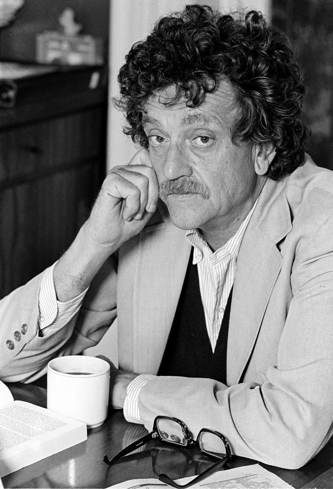 A heavily mustachioed man with a wild mop of curly hair, Slaughterhouse-Five writer Kurt Vonnegut is a scruffy symbol of the