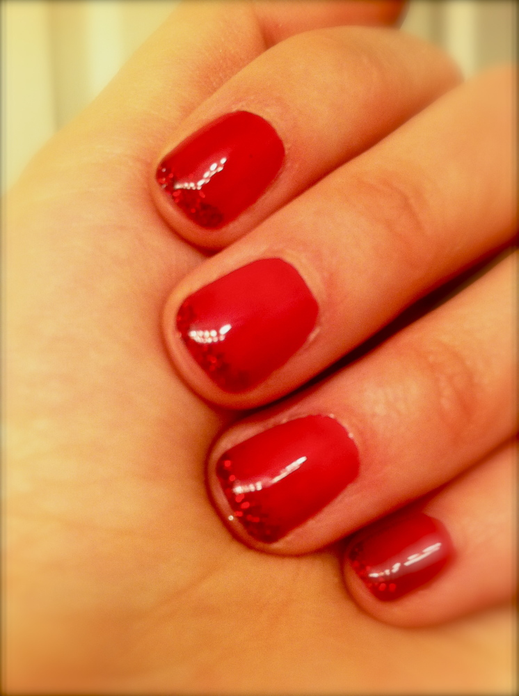 """""""Looking for any reason to be festive, here are some splendidly cheerful nails. A bright red to signify Chinese New Year and"""
