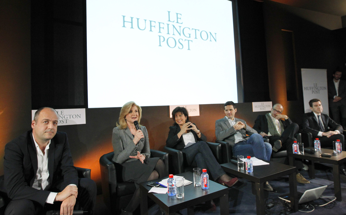 Le Monde CEO Louis Dreyfus, Huffington Post Media Group President and Editor-in-Chief Arianna Huffington, Le Huffington Post