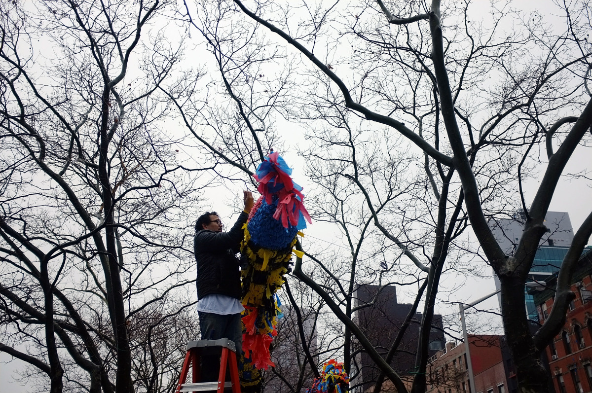 NEW YORK, NY - JANUARY 23:  A man places traditional decorations in a tree during Chinese New Year celebrations in Chinatown