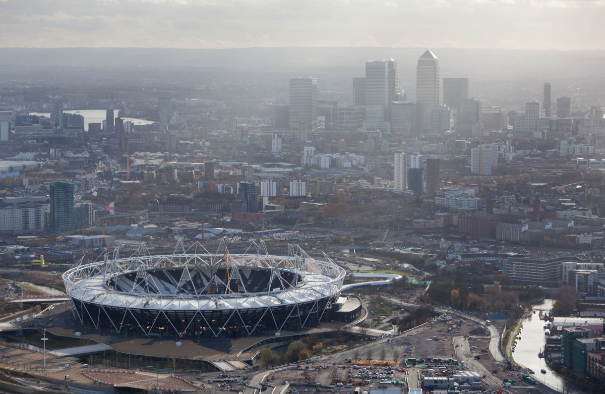 An aerial view looking south of the Olympic Stadium in the London 2012 Olympic Games Park on Dec. 5, 2011 in London, England.