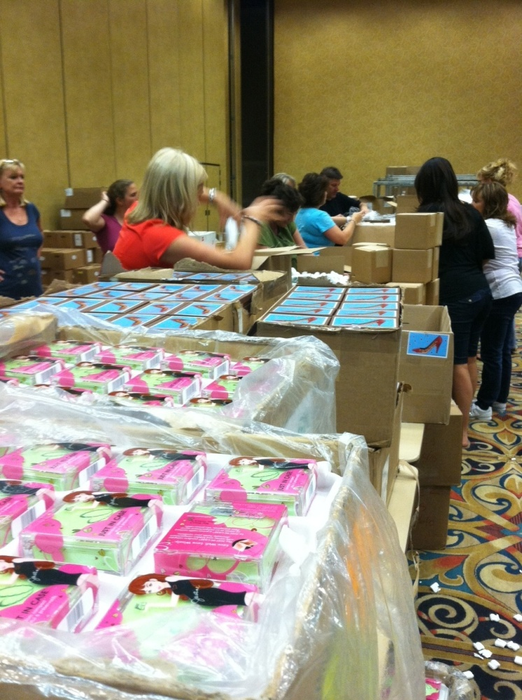 The 2011 Daytime Emmy gift bags in the making - featuring Marsha's <em>Just In Case</em> condom compacts!