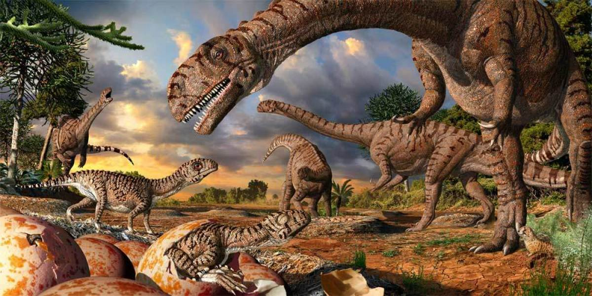 Artist's rendering of a sauropod nursery site. Julius Csotonyi