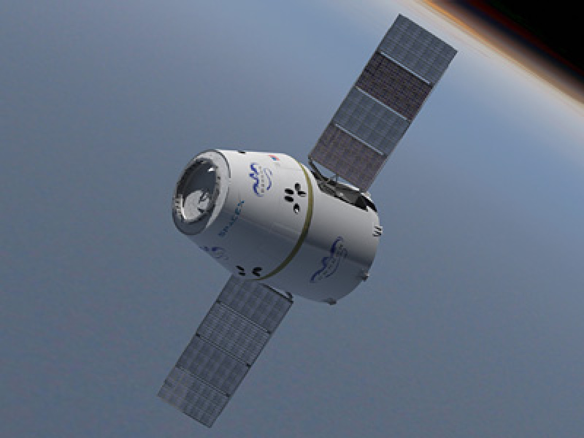 Dragon Spacecraft with Solar Panels deployed