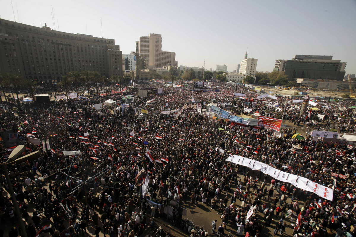 A general view of thousands of Egyptians gathered in Tahrir Square to mark the one year anniversary of the uprising that oust