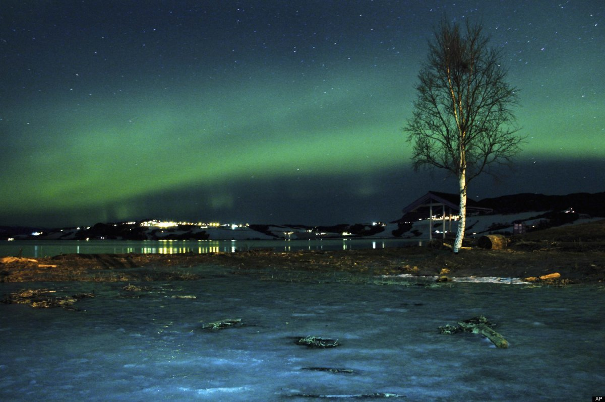 <em>From AP:</em> The aurora borealis, or Northern Lights, are seen near the city of Trondheim, Norway Tuesday Jan. 23, 2012.