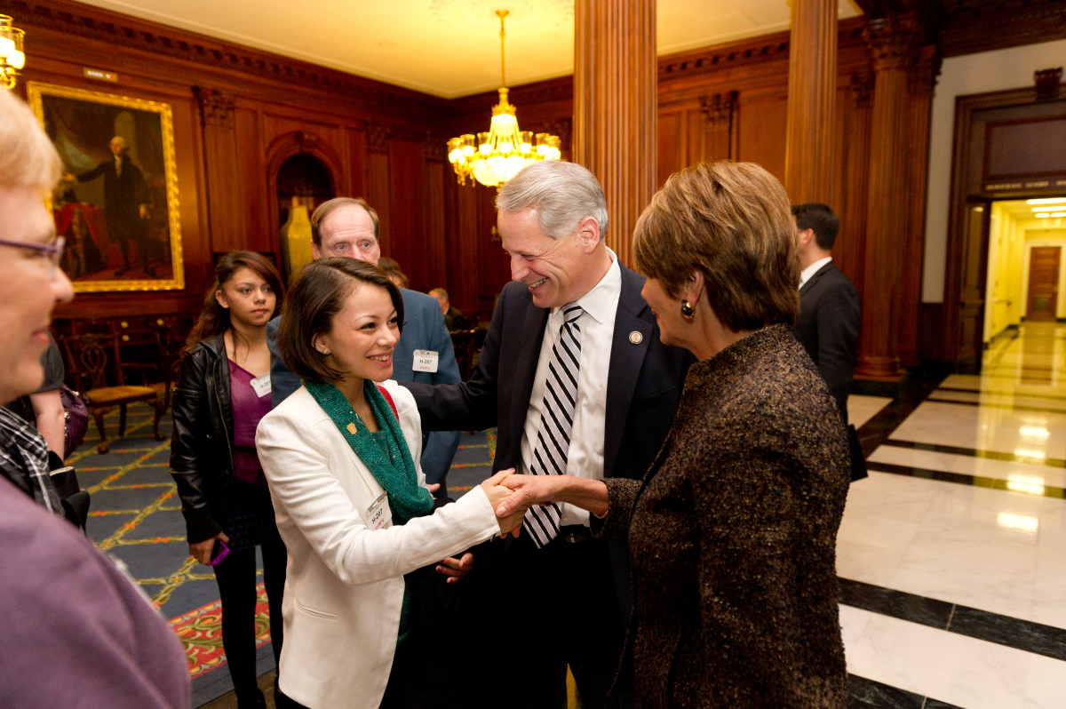 Samantha meets Nancy Pelosi.  <em>Photo: Eric Connolly of the CAO Office of Photography, Courtesy of Rep. Steve Israel's Of