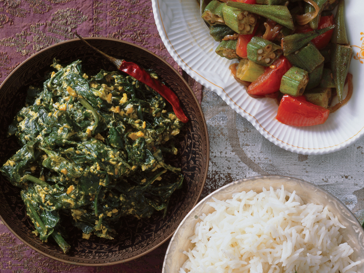 This spinach dish gets a rich and creamy flavor with the use of yogurt. Packed full of flavor, and a little bit of heat, this