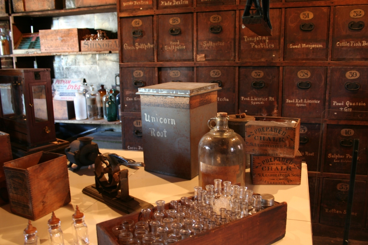 The Apothecary features hundreds of curious collection items, like poison bottles and Unicorn Root.