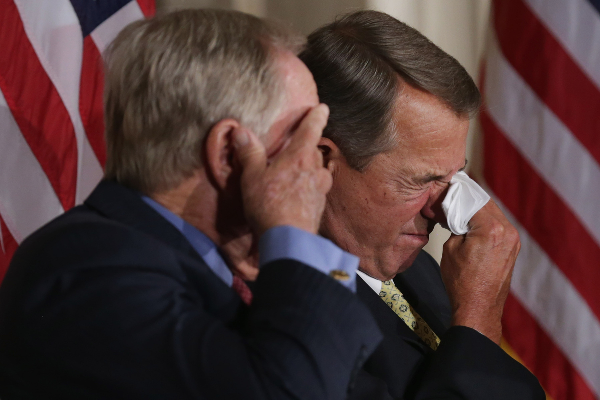 Golf legend Jack Nicklaus, left, and Speaker of the House John Boehner (R-Ohio) wipe away tears after listening to the remark